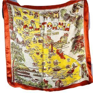 "29"" Vintage Silky Yellow Orange California Scarf"
